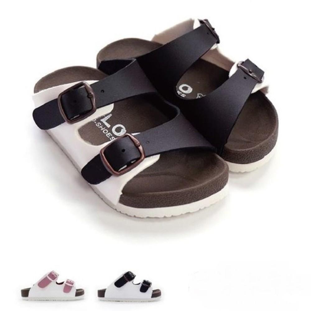 台灣製跳色小方扣拖鞋-粉