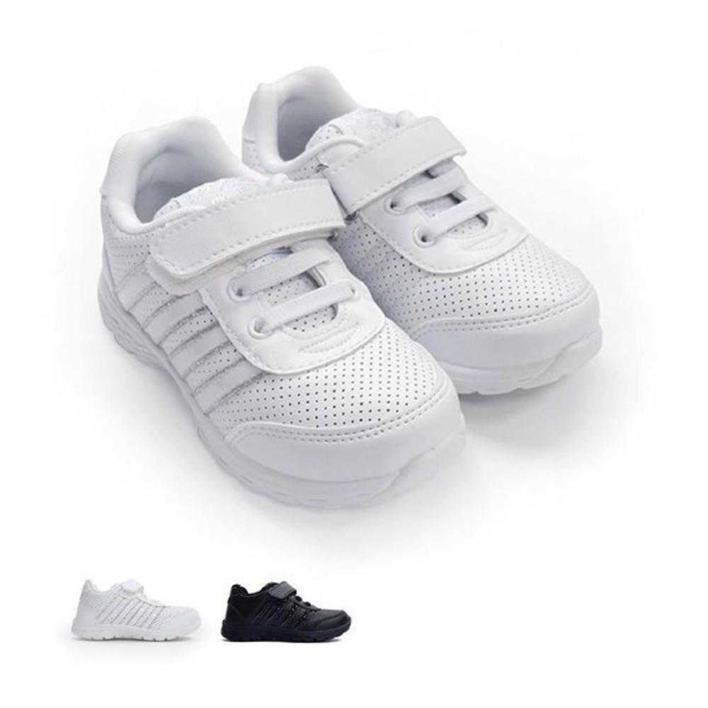 C019-1-【台灣製現貨】MIT親子款皮面透氣休閒鞋-白
