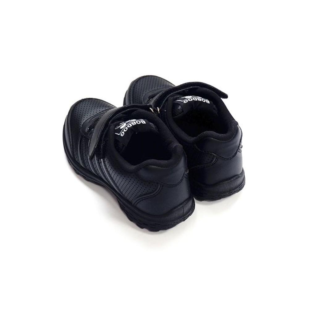 台灣製親子款皮面透氣休閒鞋-黑