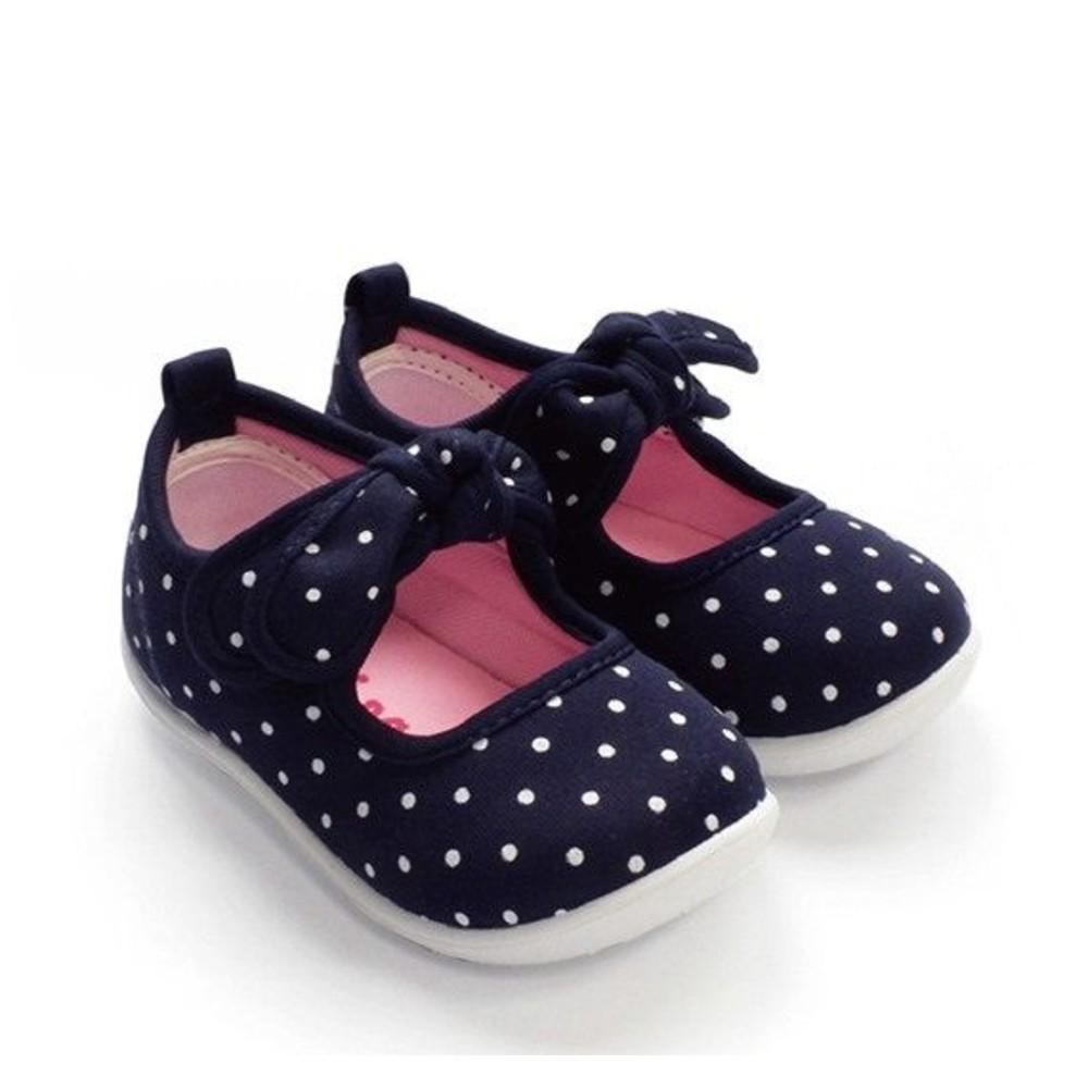 C021-【台灣現貨】MIT點點蝴蝶結娃娃鞋-藍