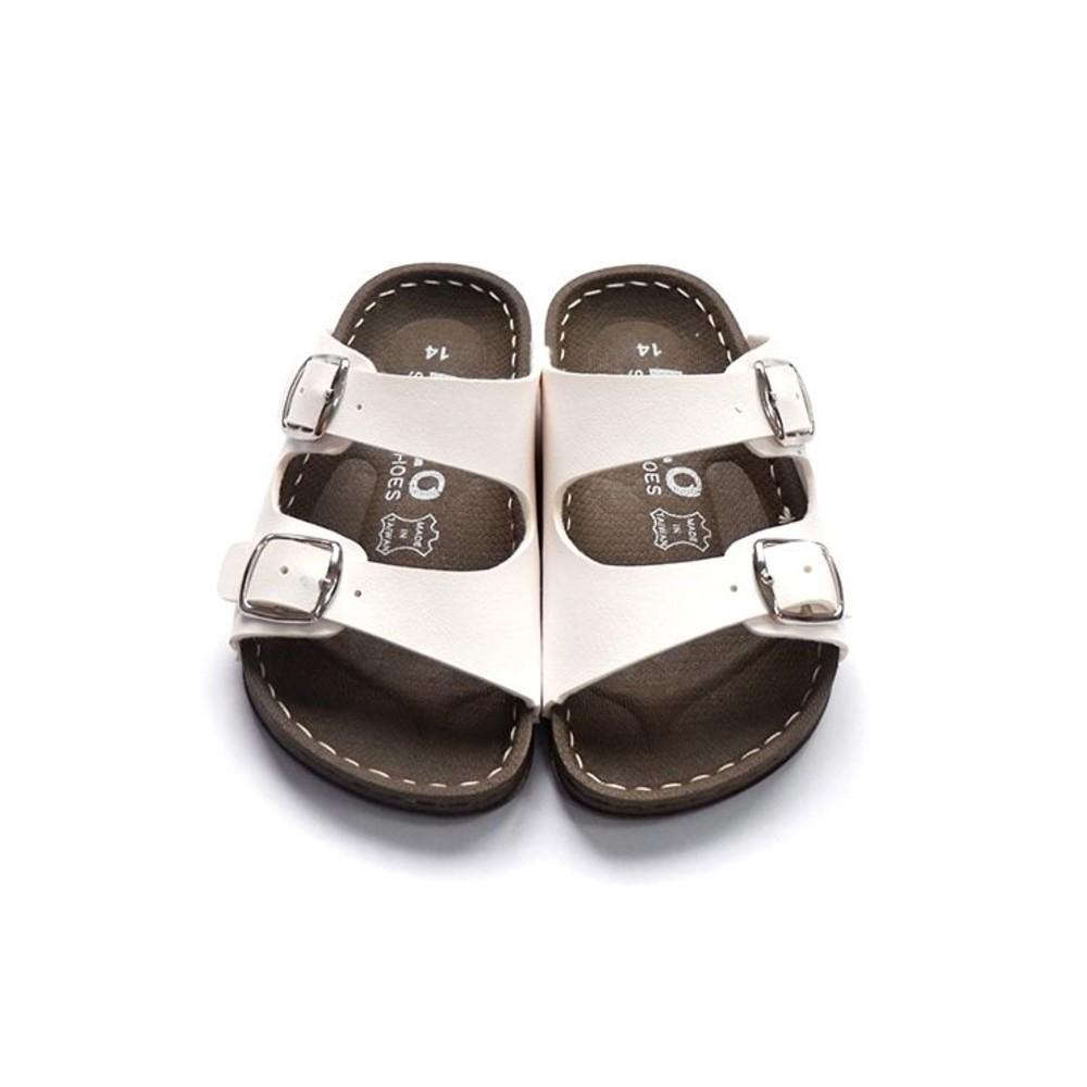 台灣製金扣雙帶拖鞋-白色
