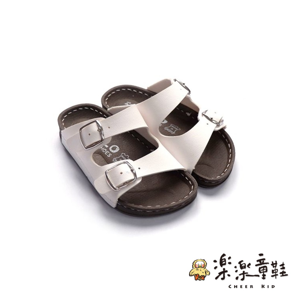 C024-1 - 台灣製金扣雙帶拖鞋-白色