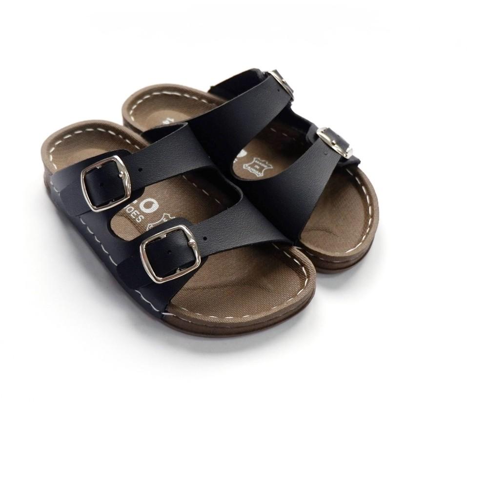 C024-2-台灣製金扣雙帶拖鞋-黑色