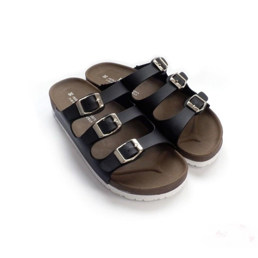 C031-1 - 【台灣製現貨】MIT三帶三釦親子拖鞋-黑