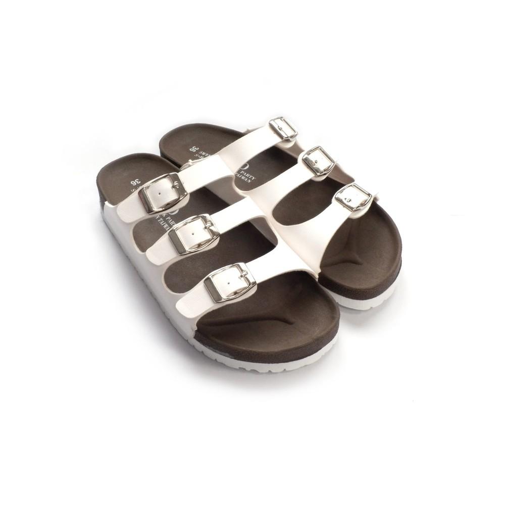 C031-【台灣製現貨】MIT三帶三釦親子拖鞋-白
