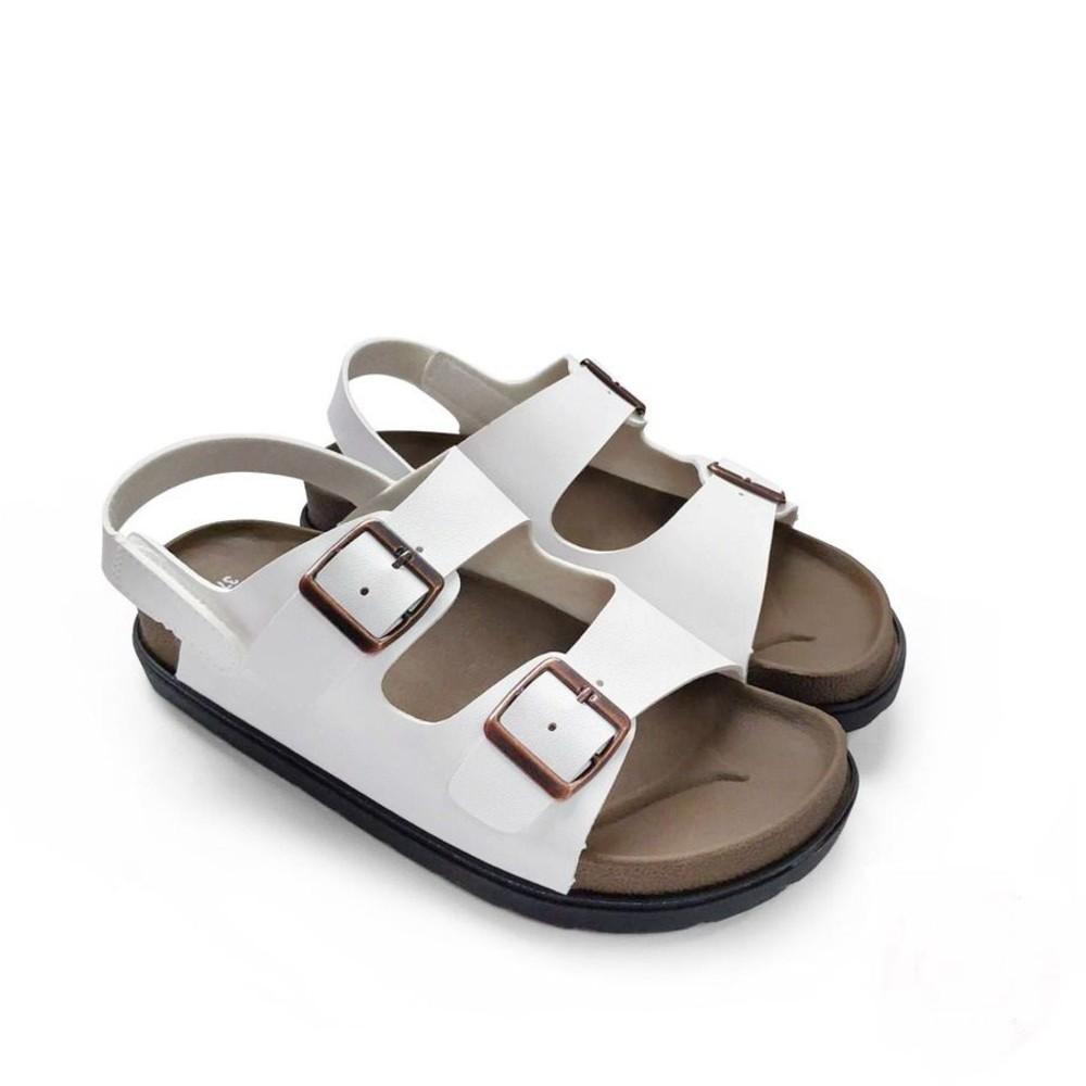C036-1-【台灣現貨】MIT寬帶涼鞋-白