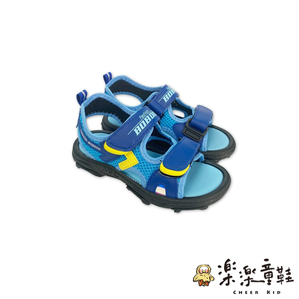 C044-撞色魔鬼氈軟底彈性童涼鞋-藍