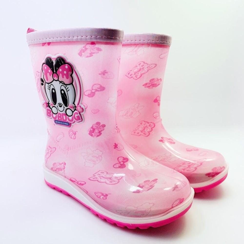 C046-【台灣現貨】巴布豆卡通防滑雨鞋-粉