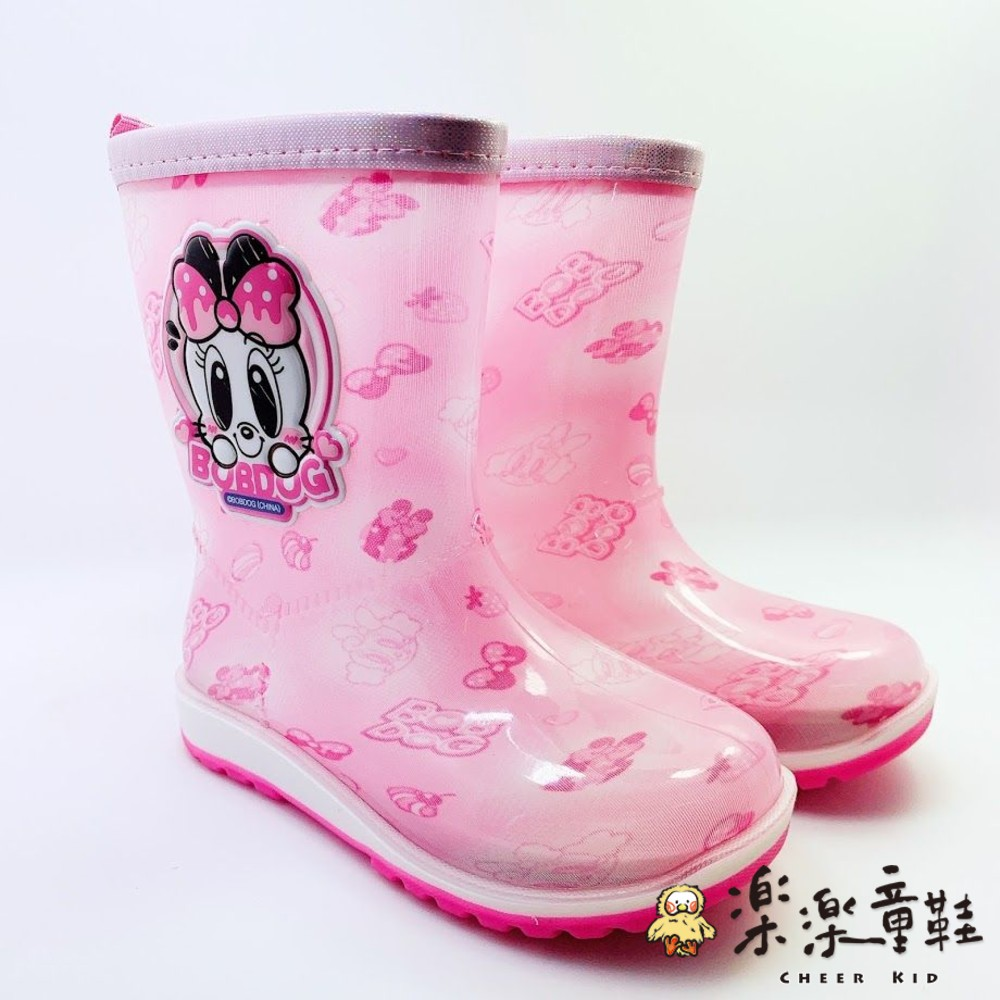 C046-巴布豆卡通防滑雨鞋-粉