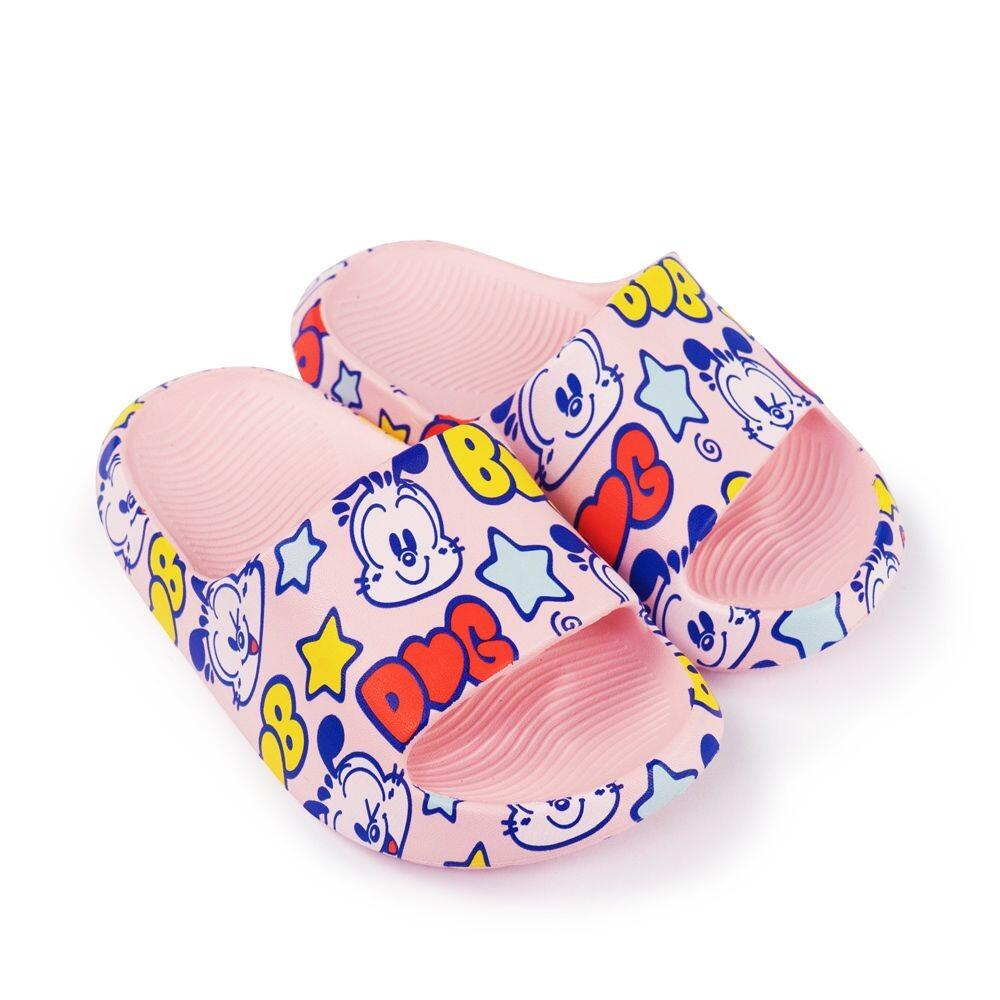C053-【台灣現貨】巴布豆卡通圖案拖鞋-粉