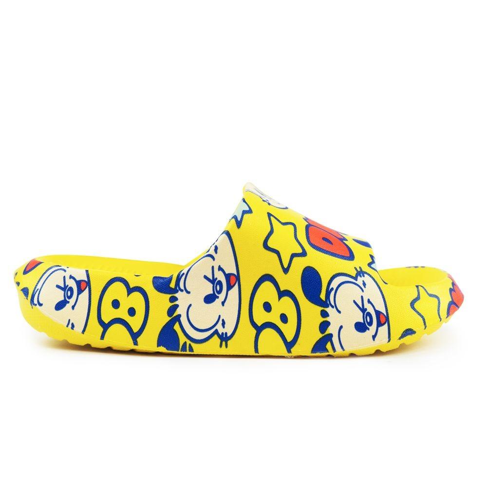 巴布豆卡通圖案拖鞋-黃