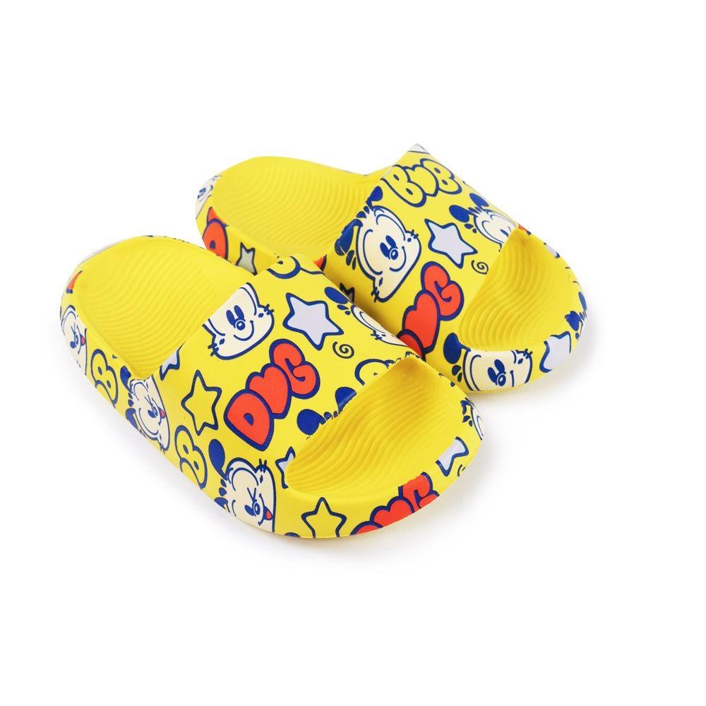C054 - 【台灣現貨】巴布豆卡通圖案拖鞋-黃