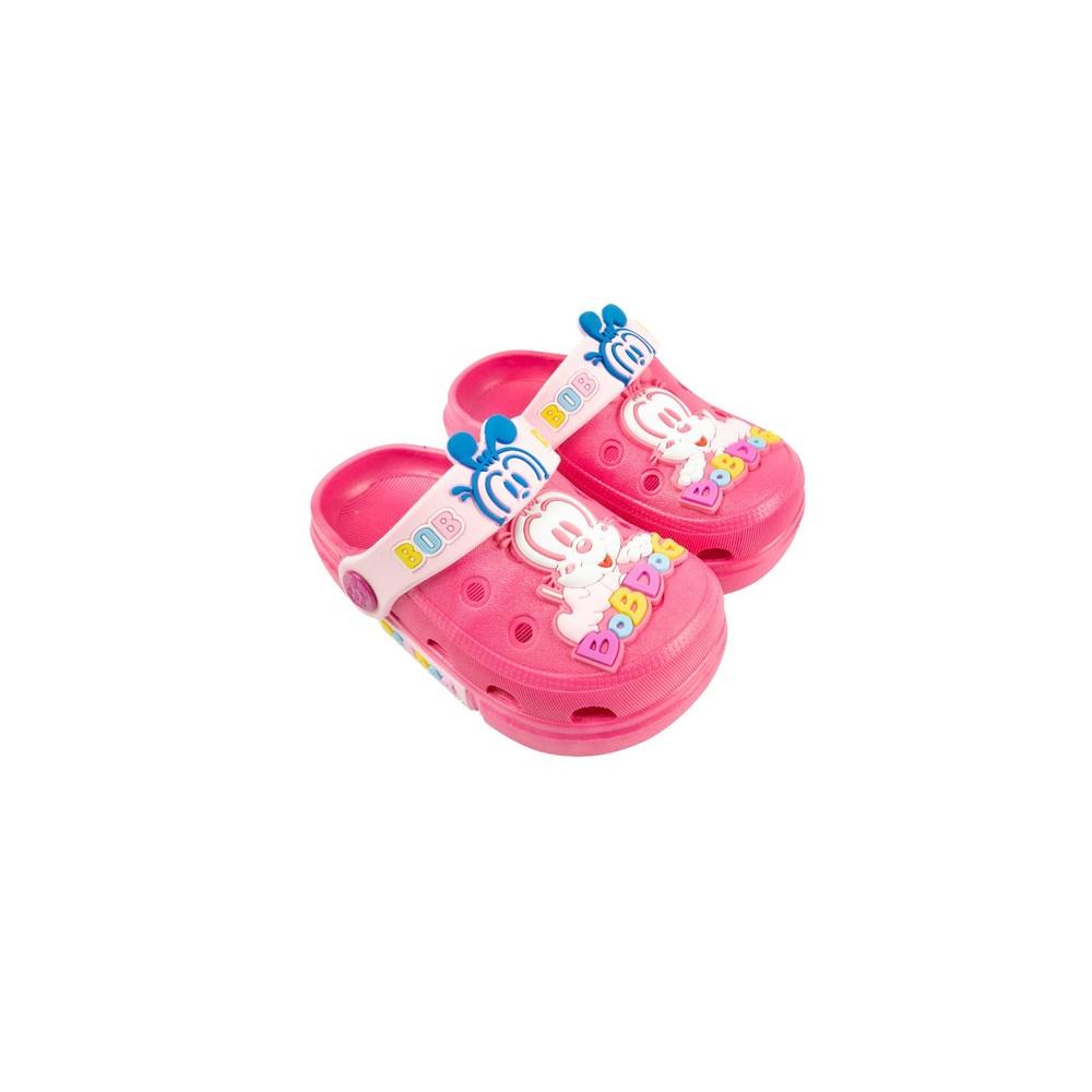 C061-【台灣現貨】巴布豆卡通圖案布希鞋-玫紅