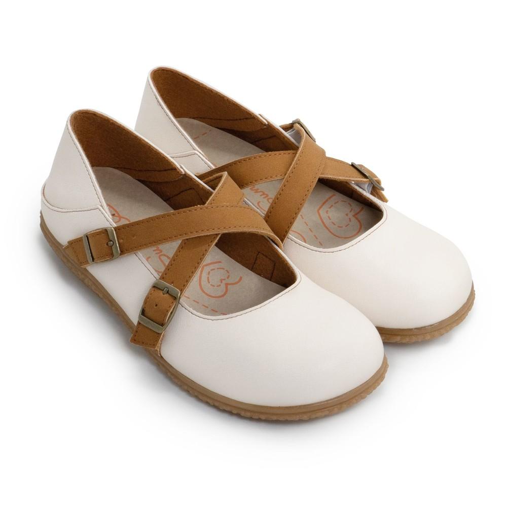 C075-【台灣製現貨】調式扣帶休閒娃娃鞋-米咖