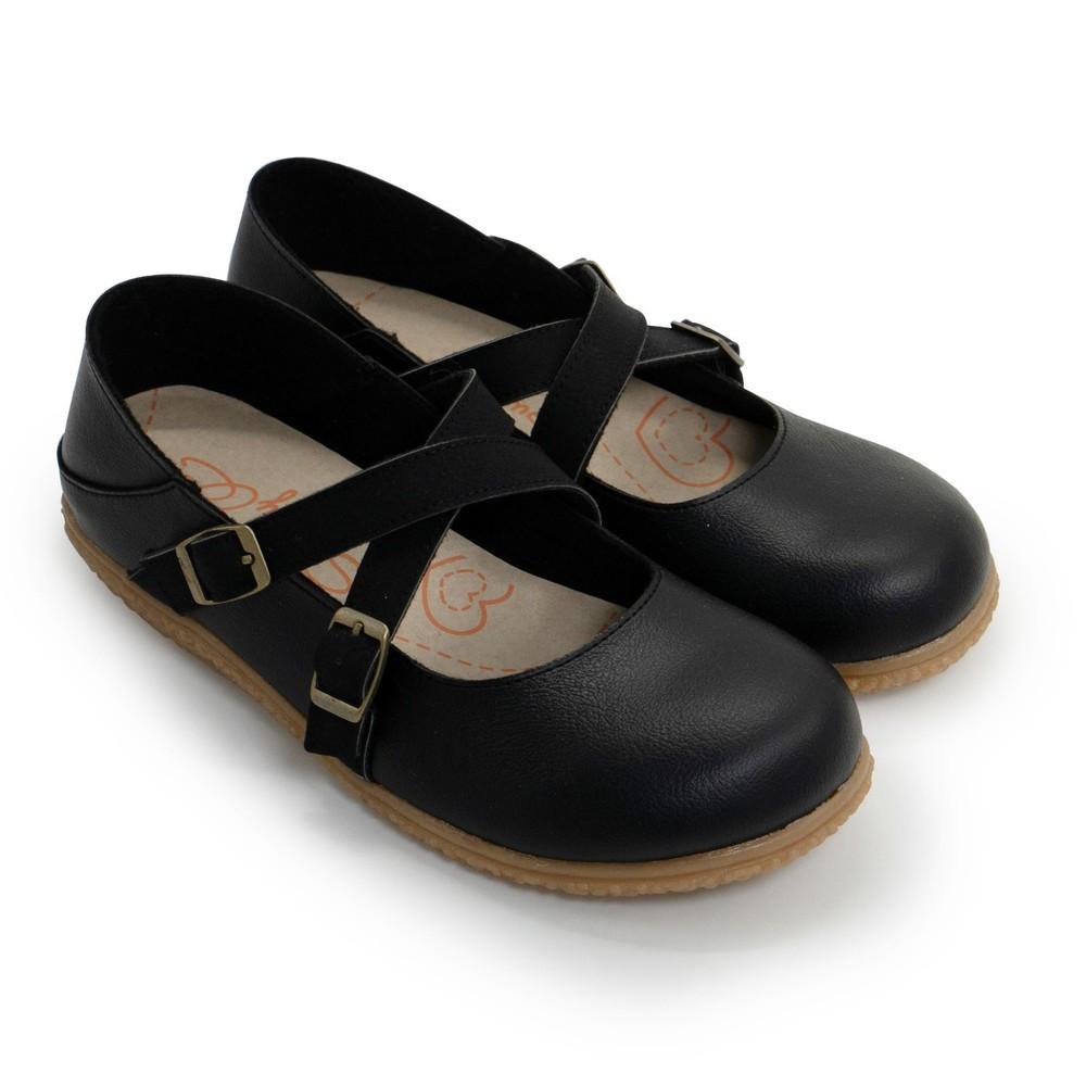 C076-【台灣製現貨】調式扣帶休閒娃娃鞋-黑色
