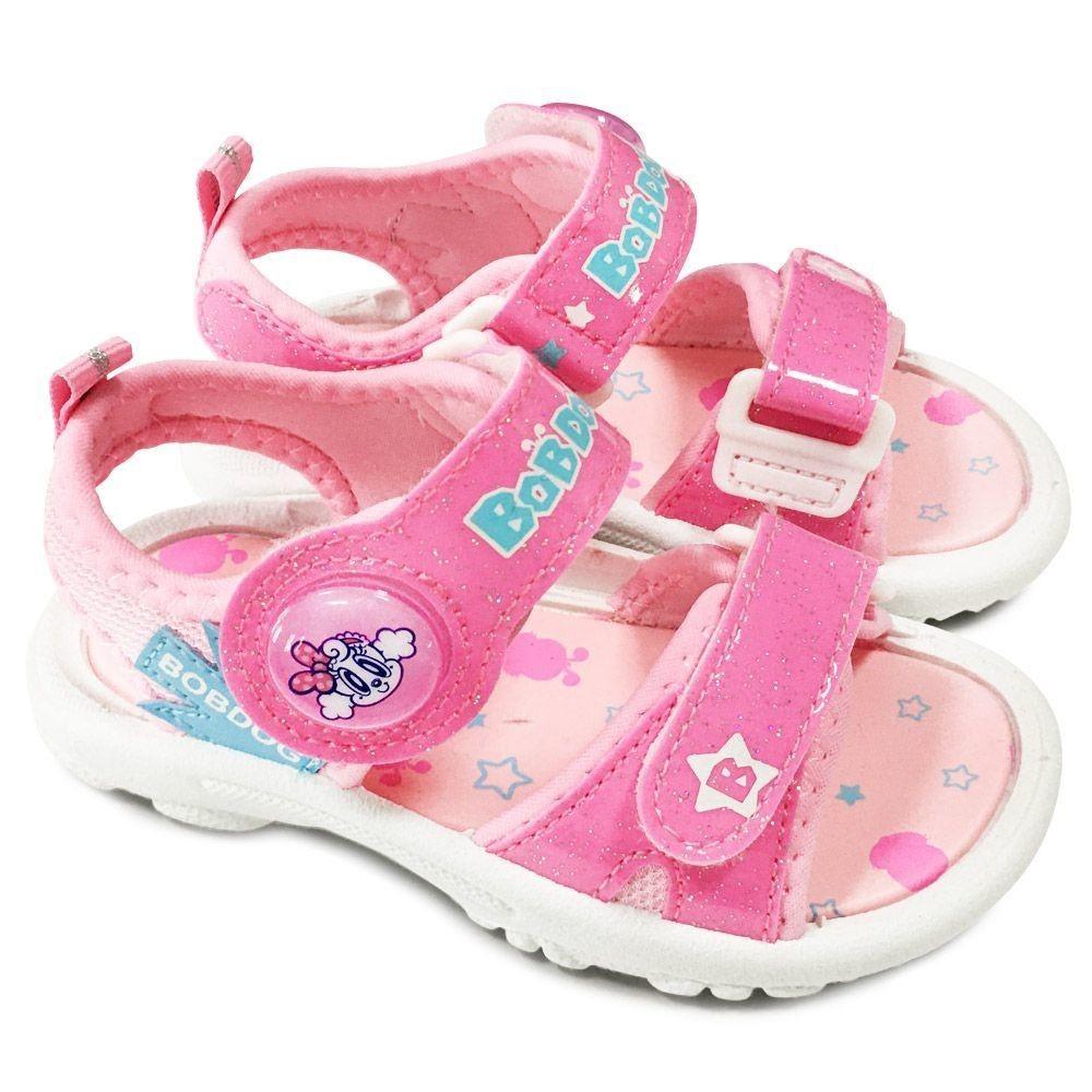 C085-1-台灣製巴布豆電燈涼鞋-粉色