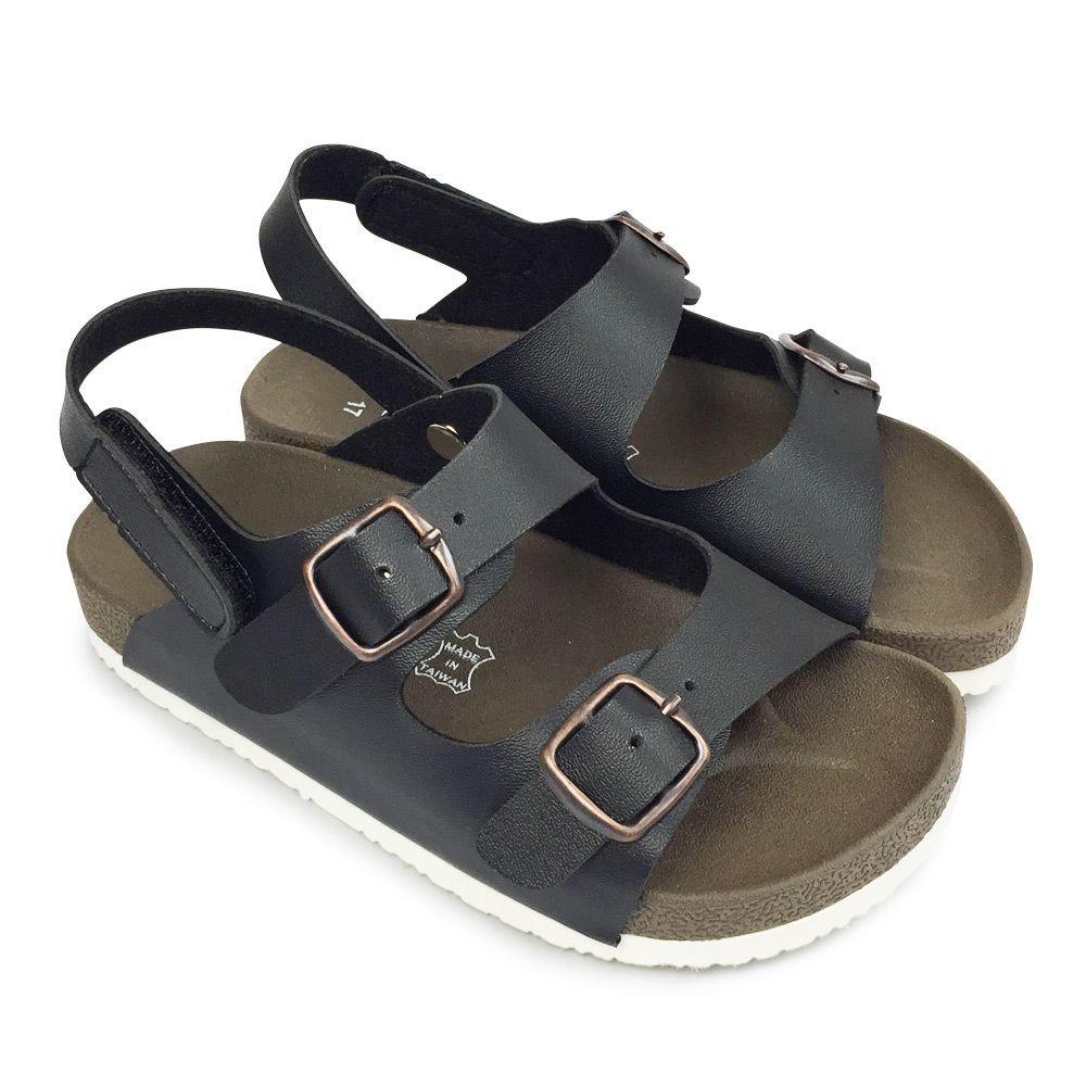 C086-2-台灣製跳色小方扣休閒涼鞋-黑色