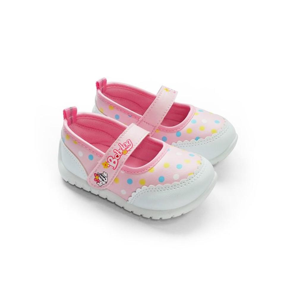 C094-1-台灣製圓點娃娃鞋-粉紅