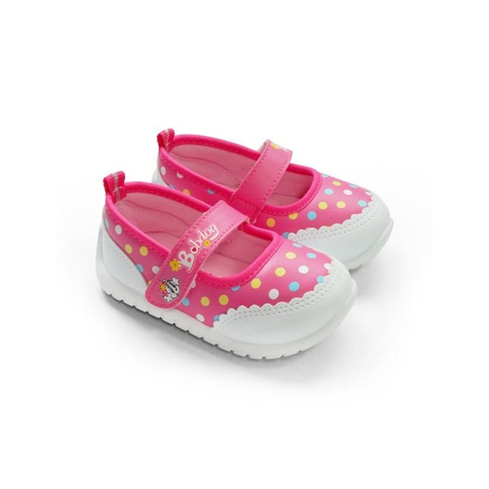 C094-台灣製圓點娃娃鞋-桃紅