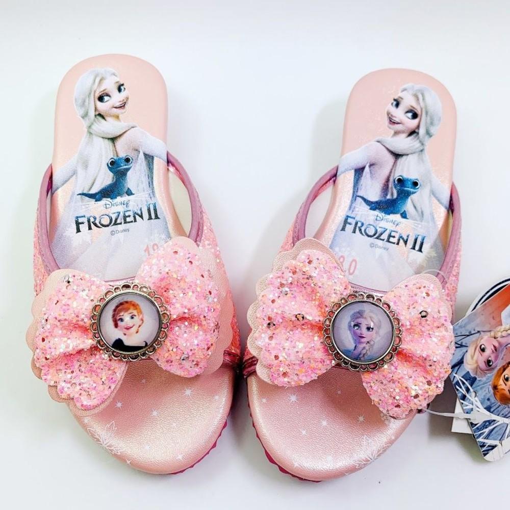 F021-【台灣製現貨】冰雪奇緣亮晶晶跟鞋-蜜桃粉
