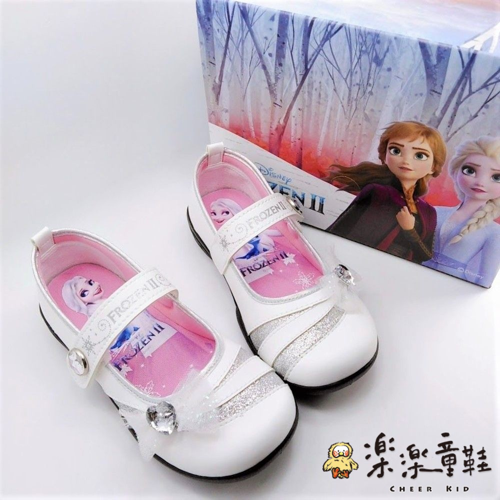 F047-【台灣製現貨】冰雪奇緣鑽飾公主鞋-白色