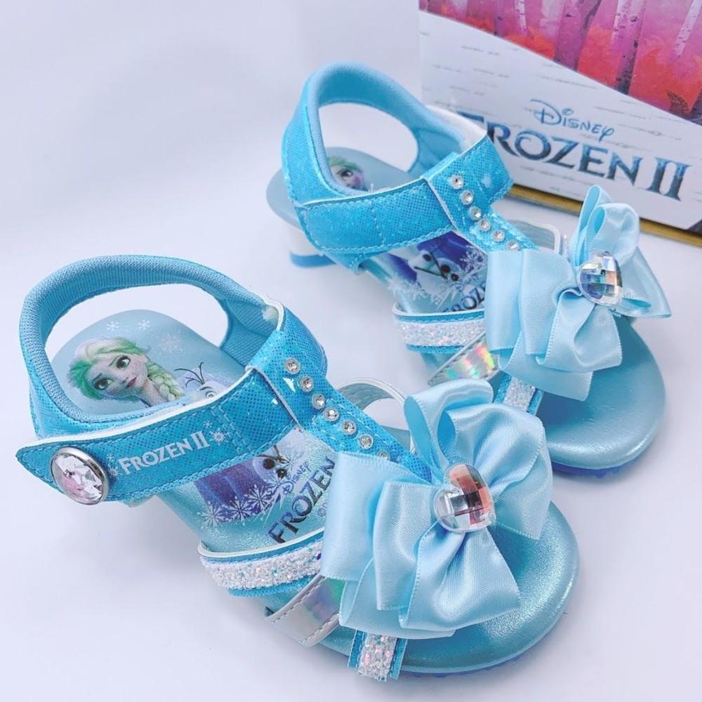 F061-1-台灣製冰雪奇緣低跟涼鞋-藍色