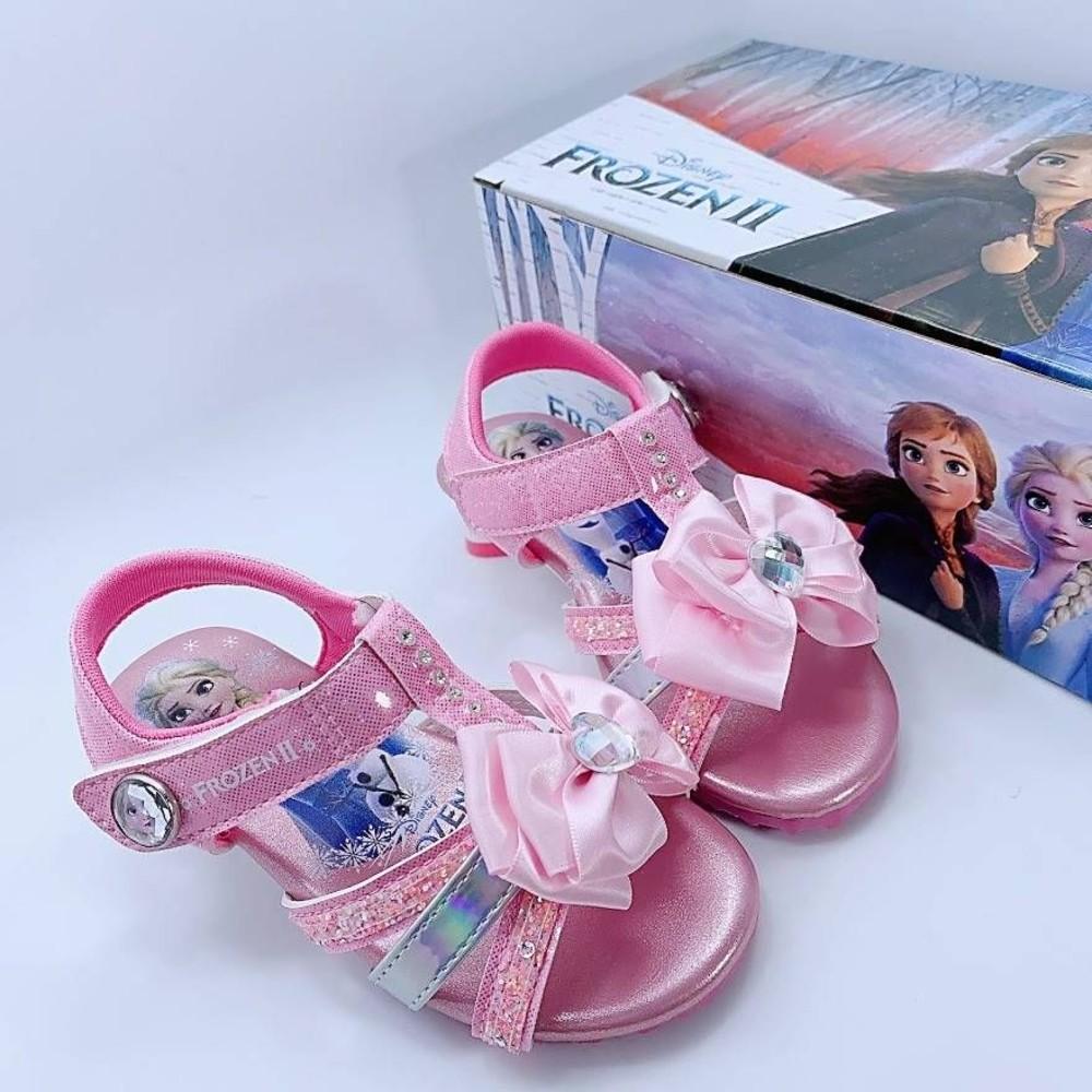 F061-台灣製冰雪奇緣低跟涼鞋-粉色