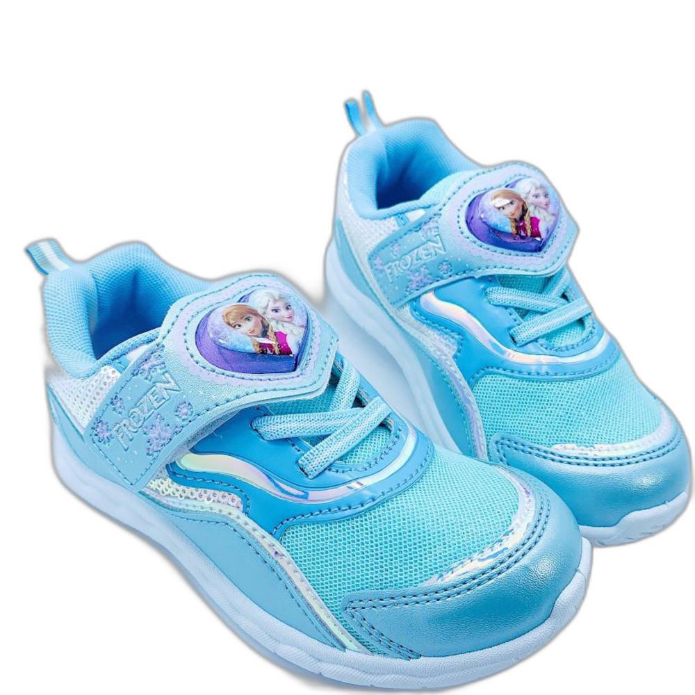 F075-1 - 台灣製冰雪奇緣電燈運動鞋-水藍