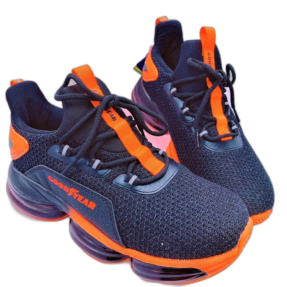 童鞋 GOODYEAR大氣墊緩震運動鞋-黑橘