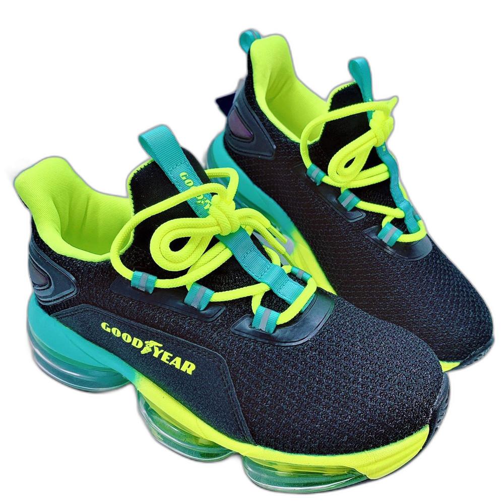 童鞋 GOODYEAR大氣墊緩震運動鞋-黑綠