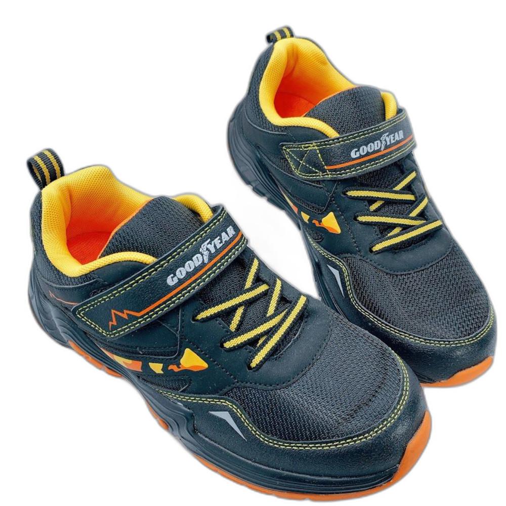 童鞋 GOODYEAR防潑水越野跑鞋-黑橘