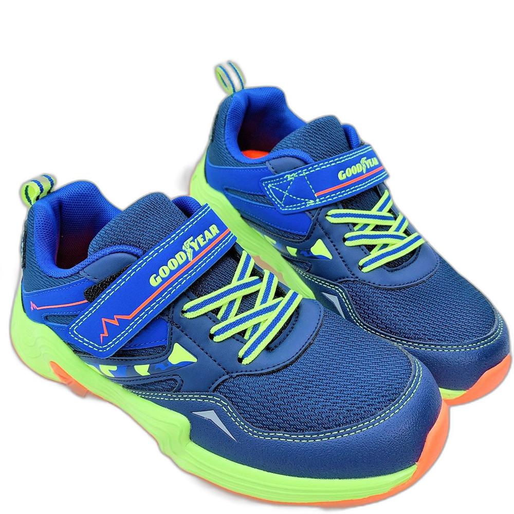 童鞋 GOODYEAR防潑水越野跑鞋-藍色