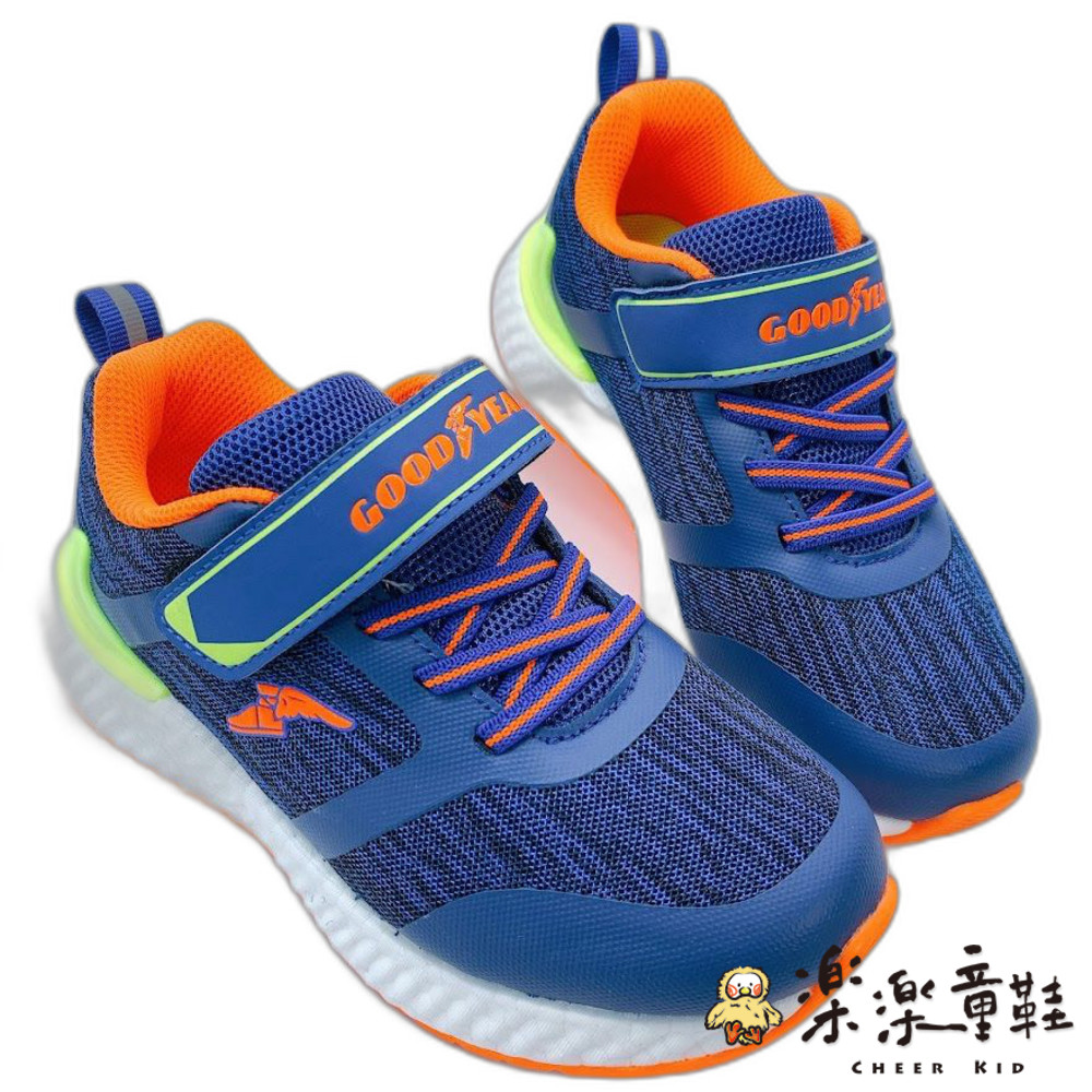 童鞋 GOODYEAR魔粒球慢跑鞋-藍橘