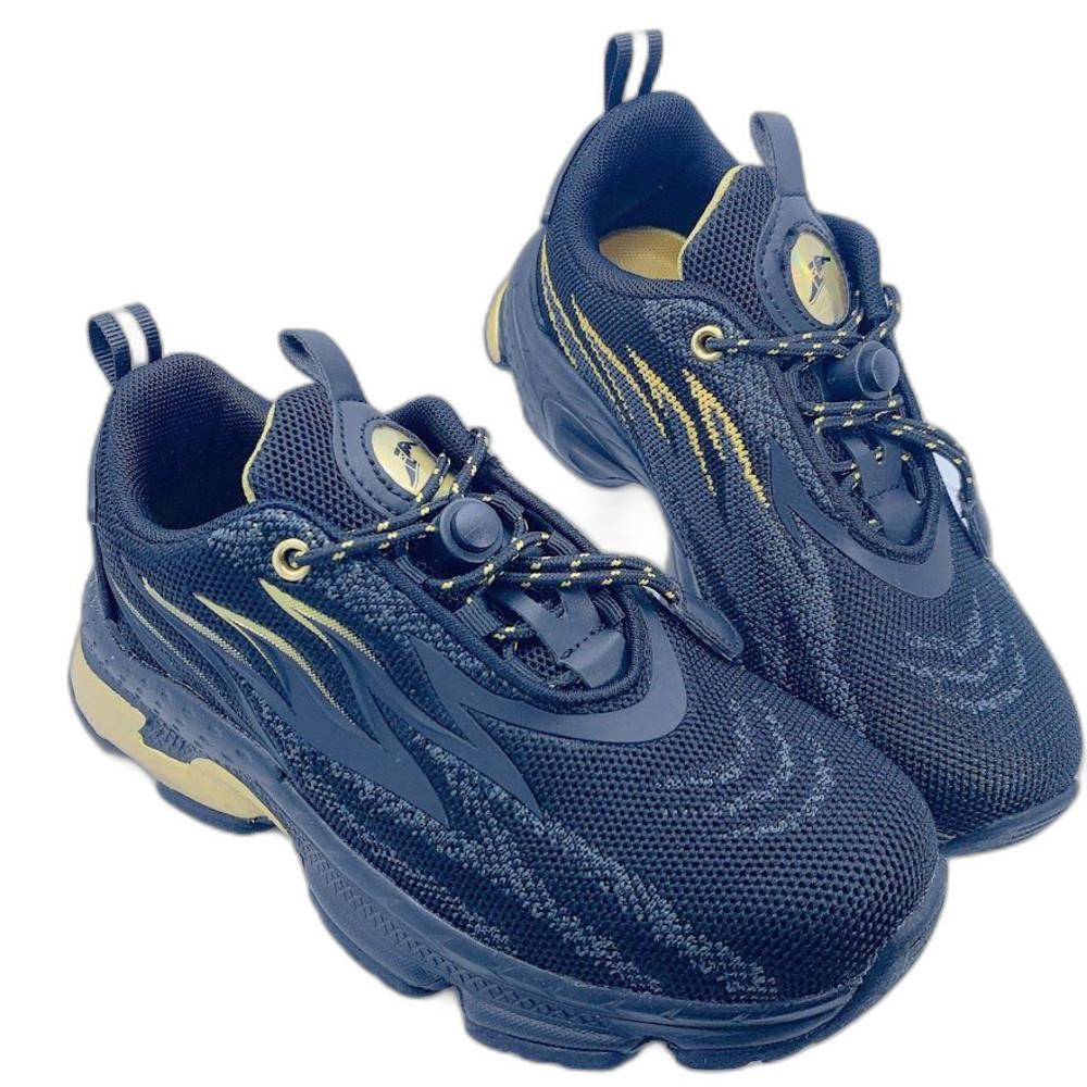 G018-1-GOODYEAR 童款輕量緩震運動鞋-黑金