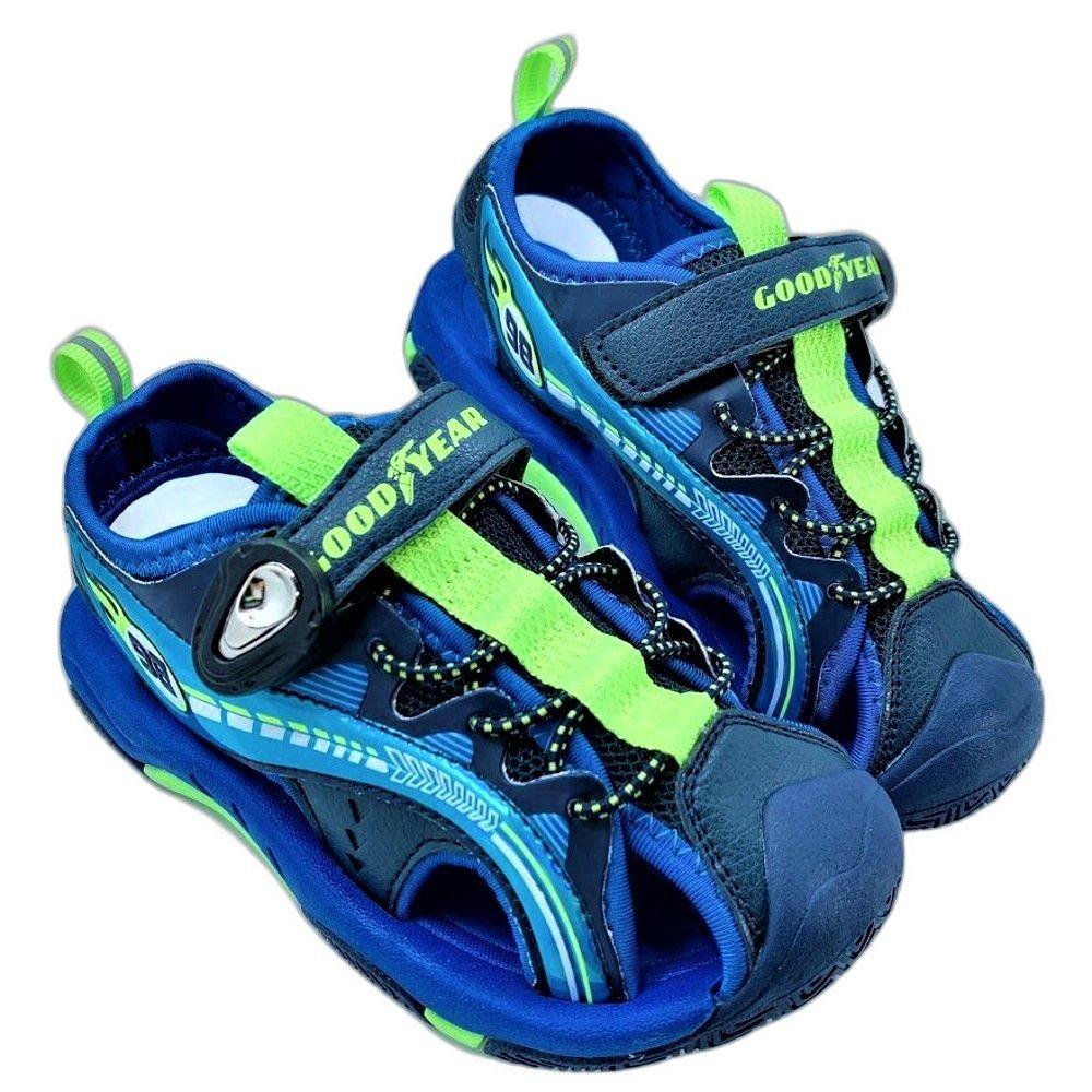 G022-1-GOODYEAR 童款護趾磁扣涼鞋-藍綠
