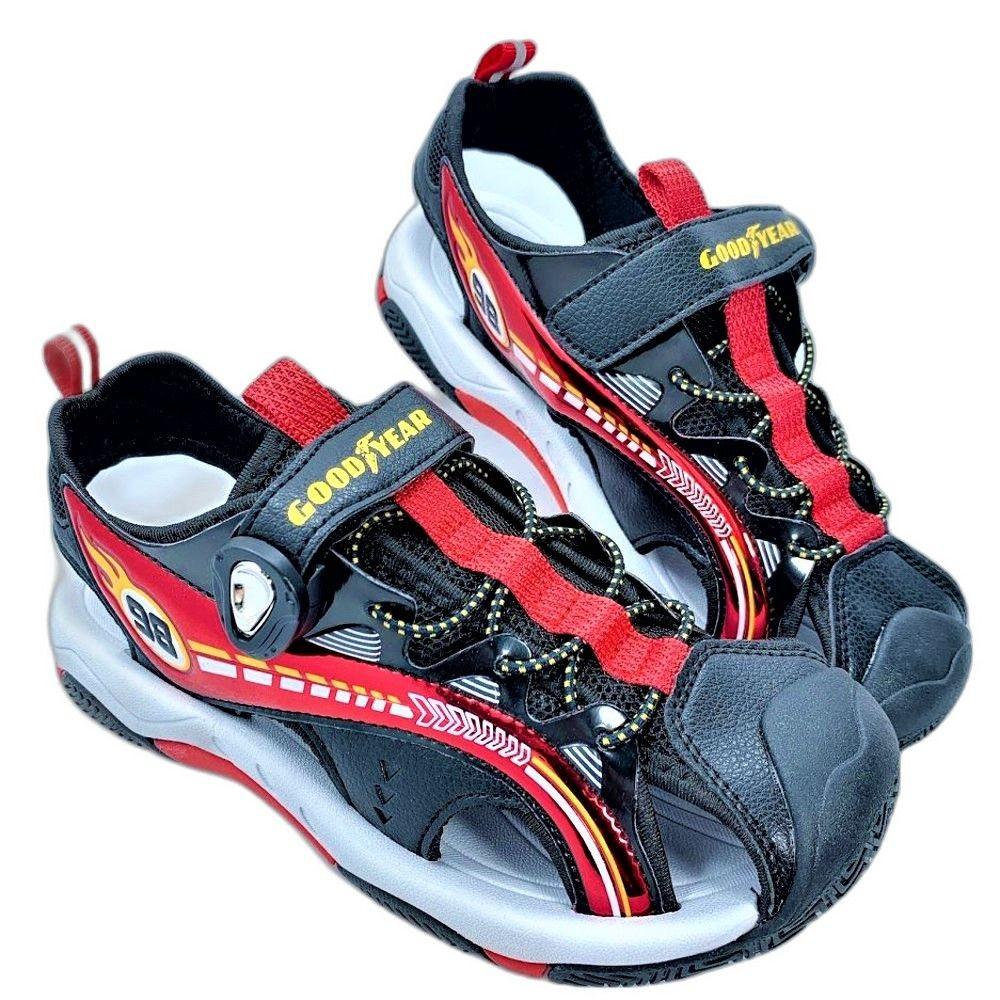 G022-GOODYEAR 童款護趾磁扣涼鞋-黑紅