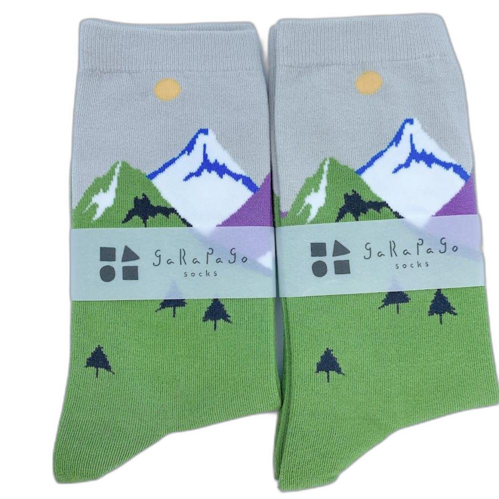 J021-5-【garapago socks】日本設計台灣製長襪-山脈圖案