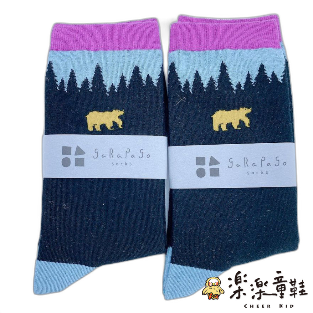 J021-6-【garapago socks】日本設計台灣製長襪-熊圖案