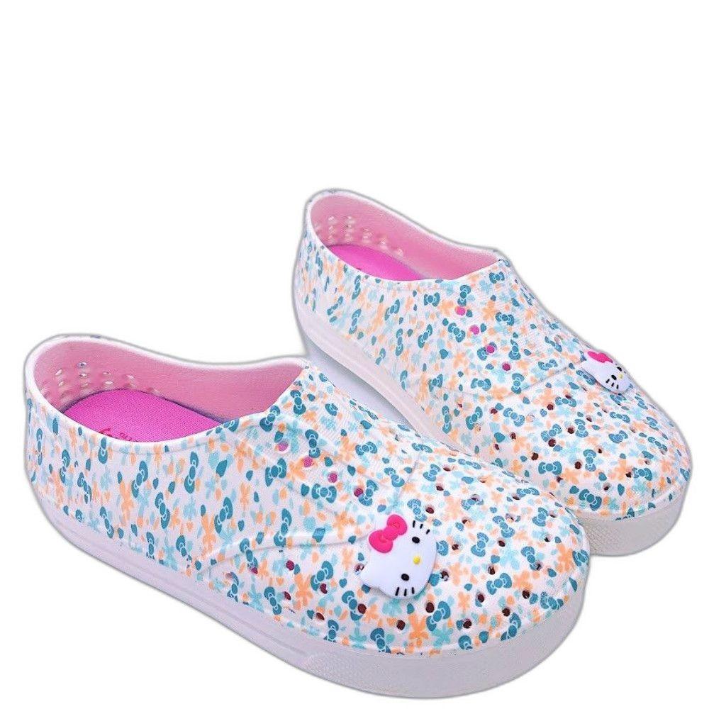 K013-1-台灣製Hello Kitty洞洞鞋-水色
