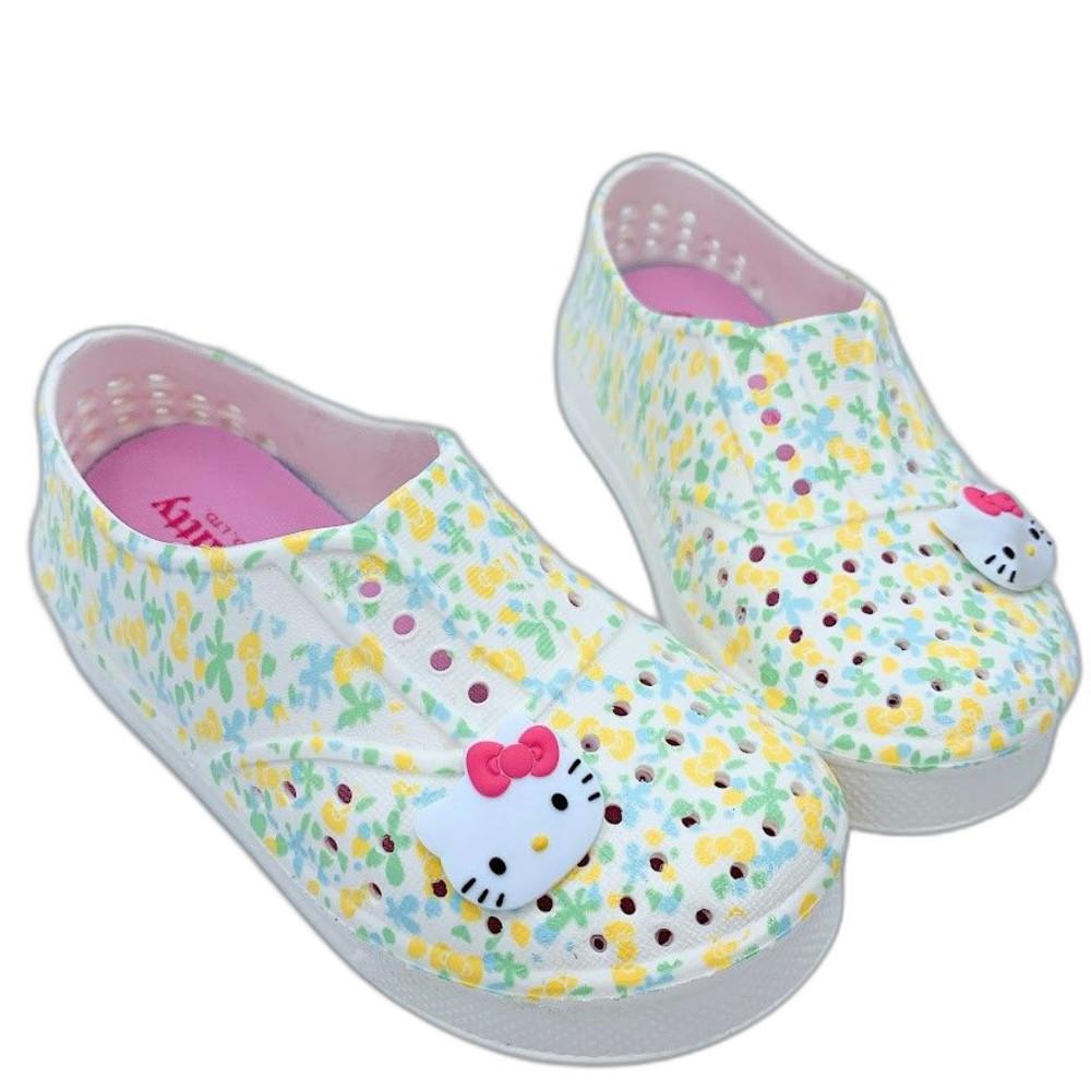 K013-2-台灣製Hello Kitty洞洞鞋-白綠