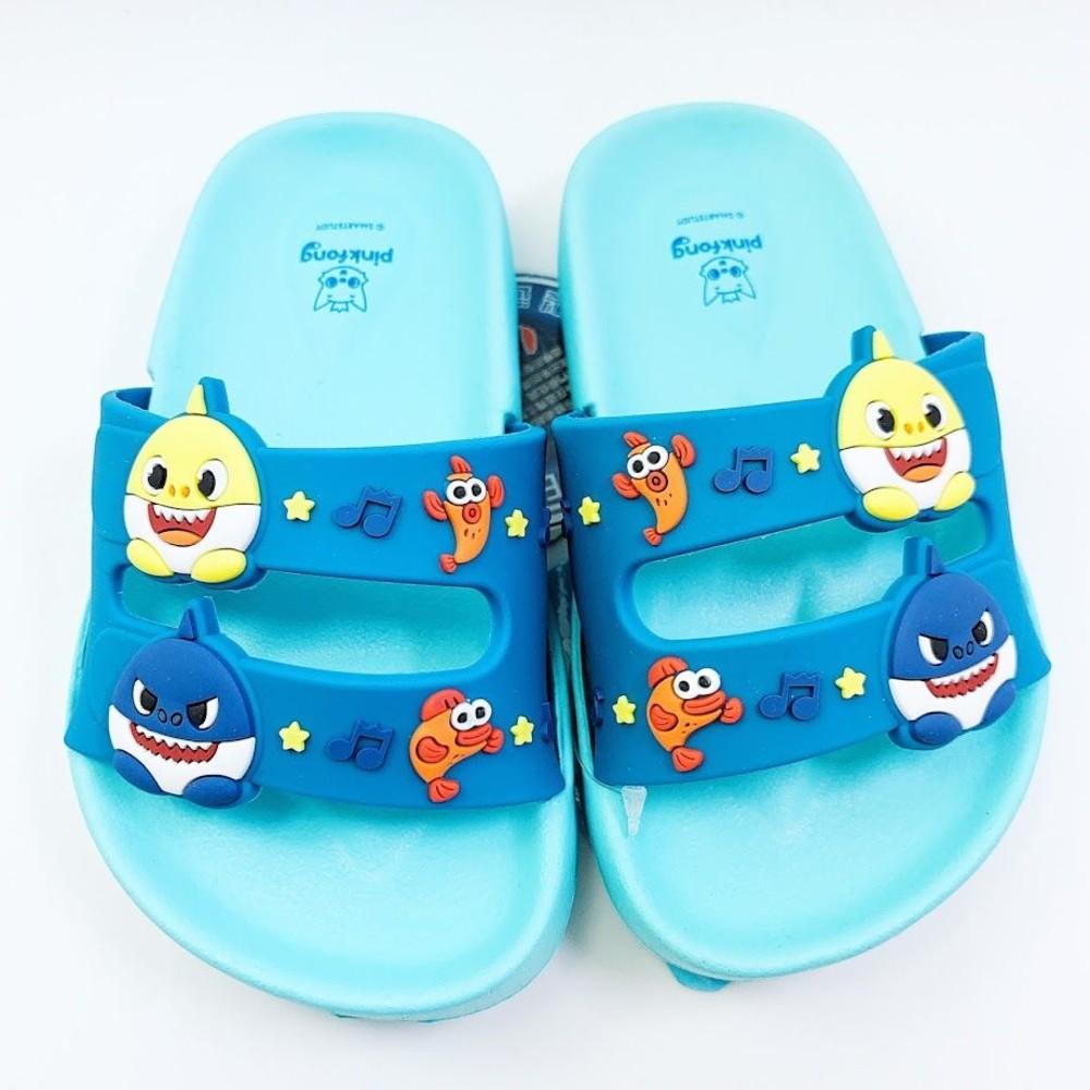 童鞋 P020-【台灣製現貨】碰碰狐鯊魚寶寶拖鞋-藍色