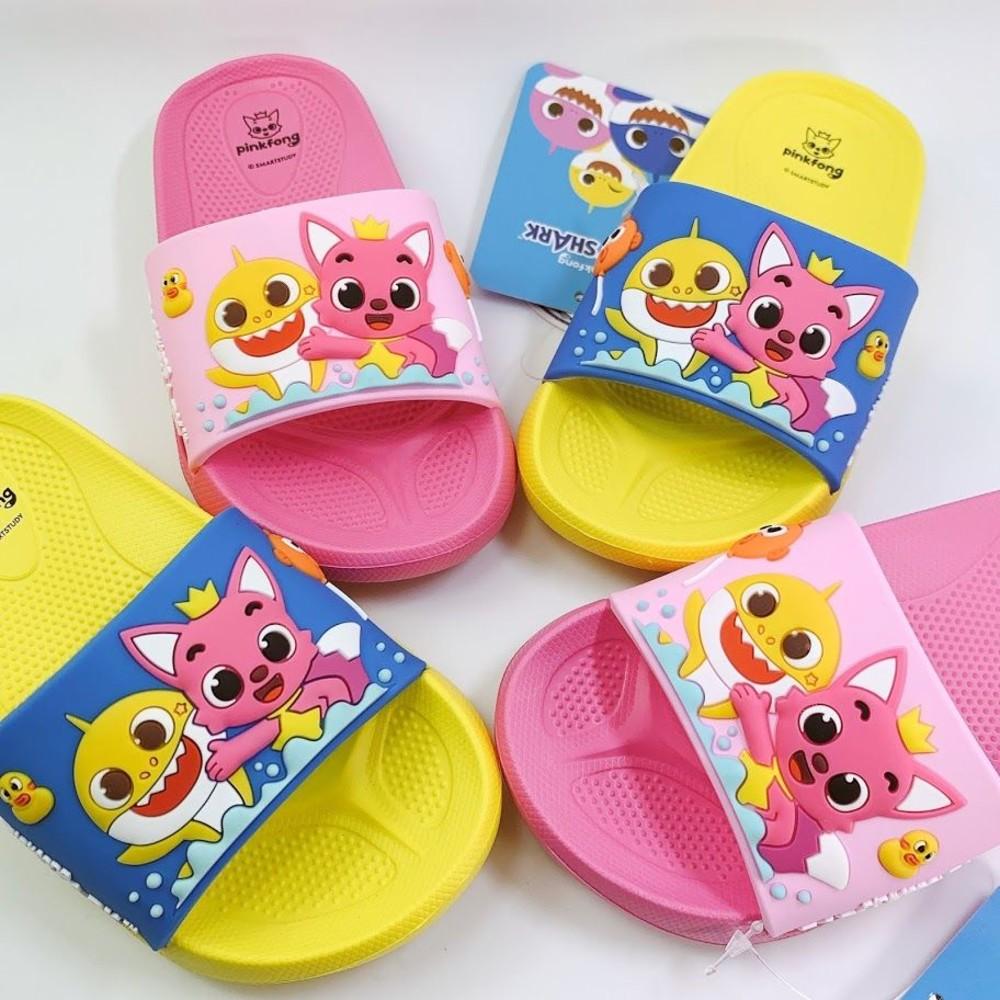 台灣製現碰碰狐鯊魚寶寶拖鞋-藍黃