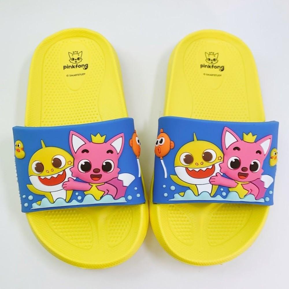 P035-【台灣製現貨】碰碰狐鯊魚寶寶拖鞋-藍黃