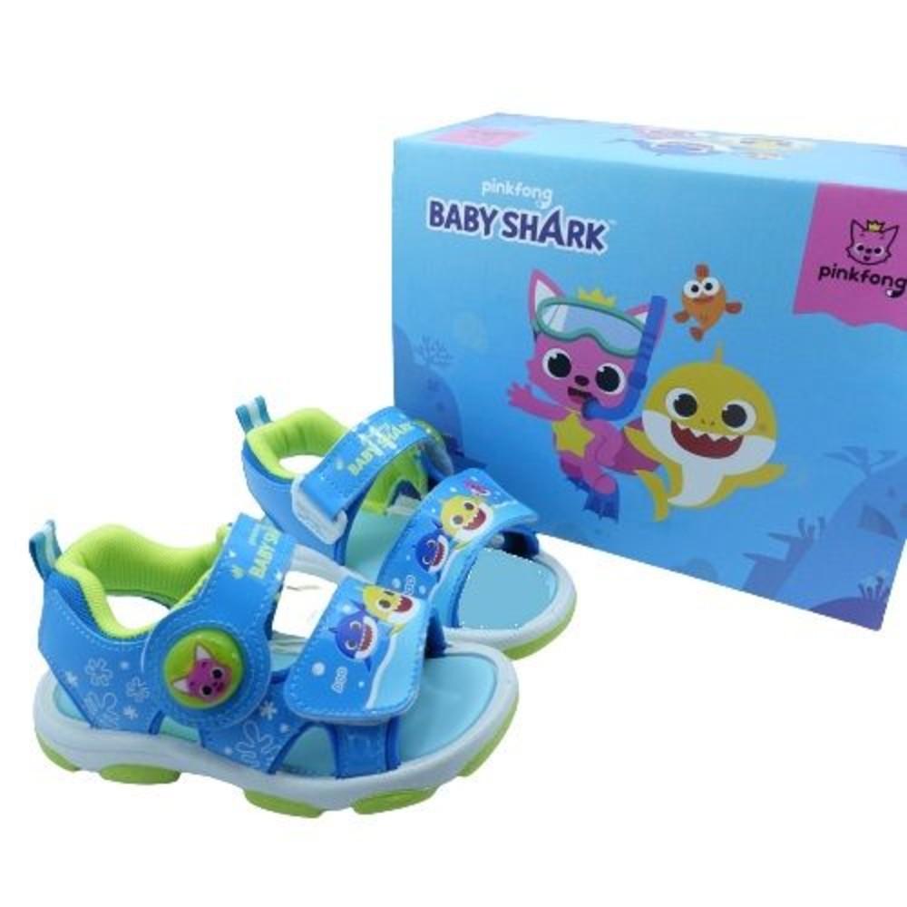 台灣製碰碰狐 鯊魚寶寶電燈涼鞋-藍色