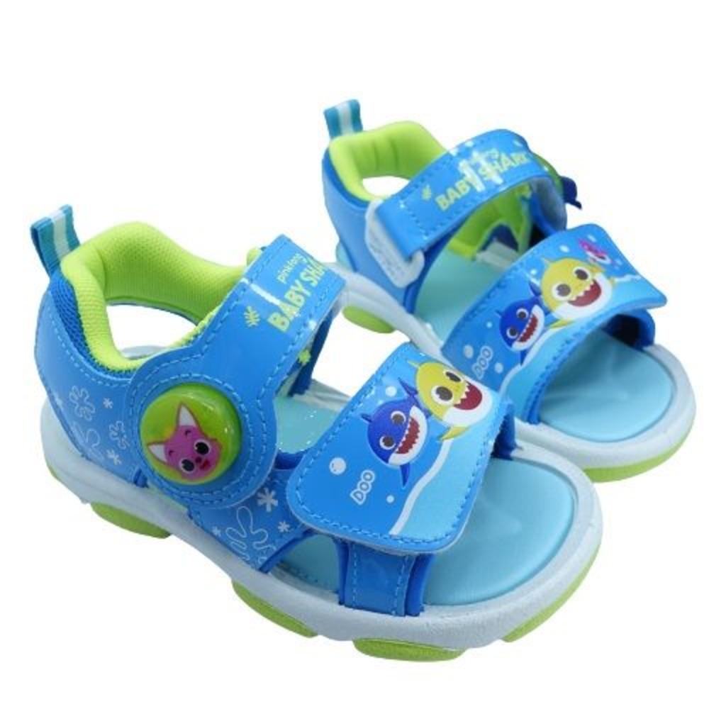 P055-1-台灣製碰碰狐 鯊魚寶寶電燈涼鞋-藍色