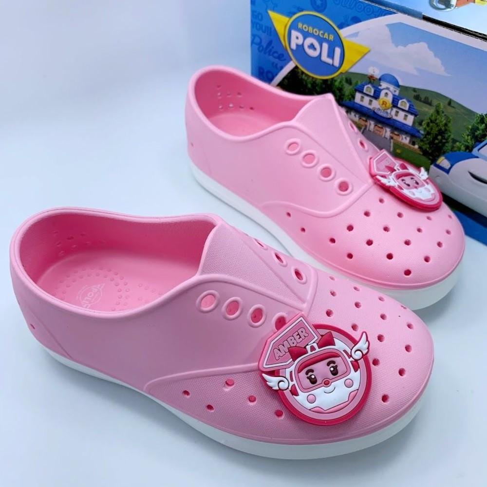 童鞋 台灣製POLI安寶洞洞鞋-粉色