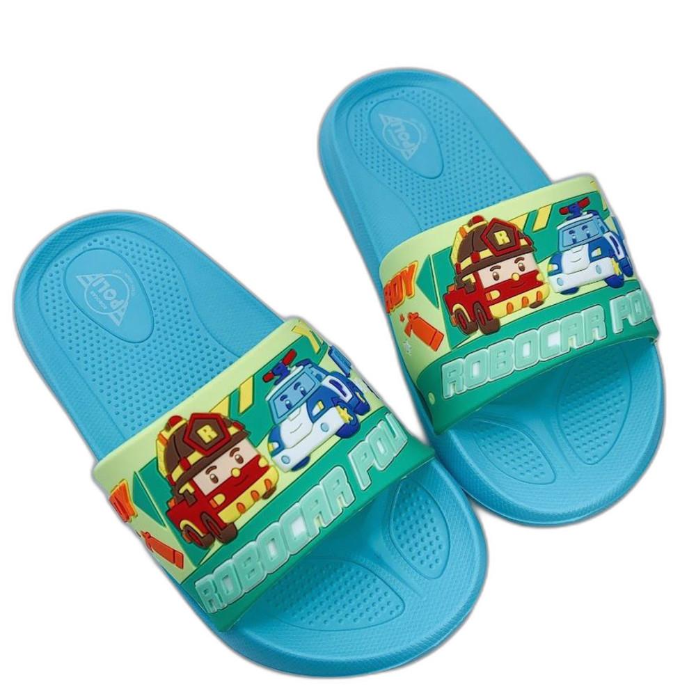 P062-台灣製POLI救援小隊拖鞋-湖水綠