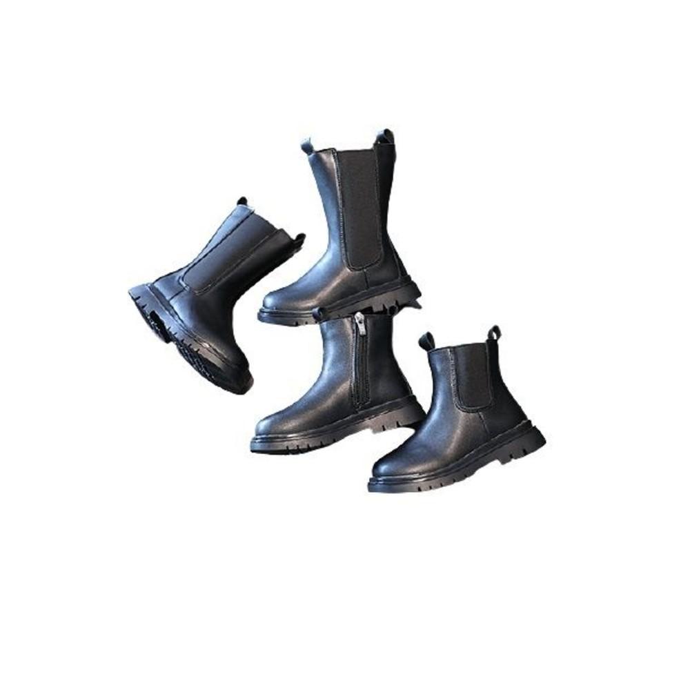 時尚鋪絨中長筒馬丁靴
