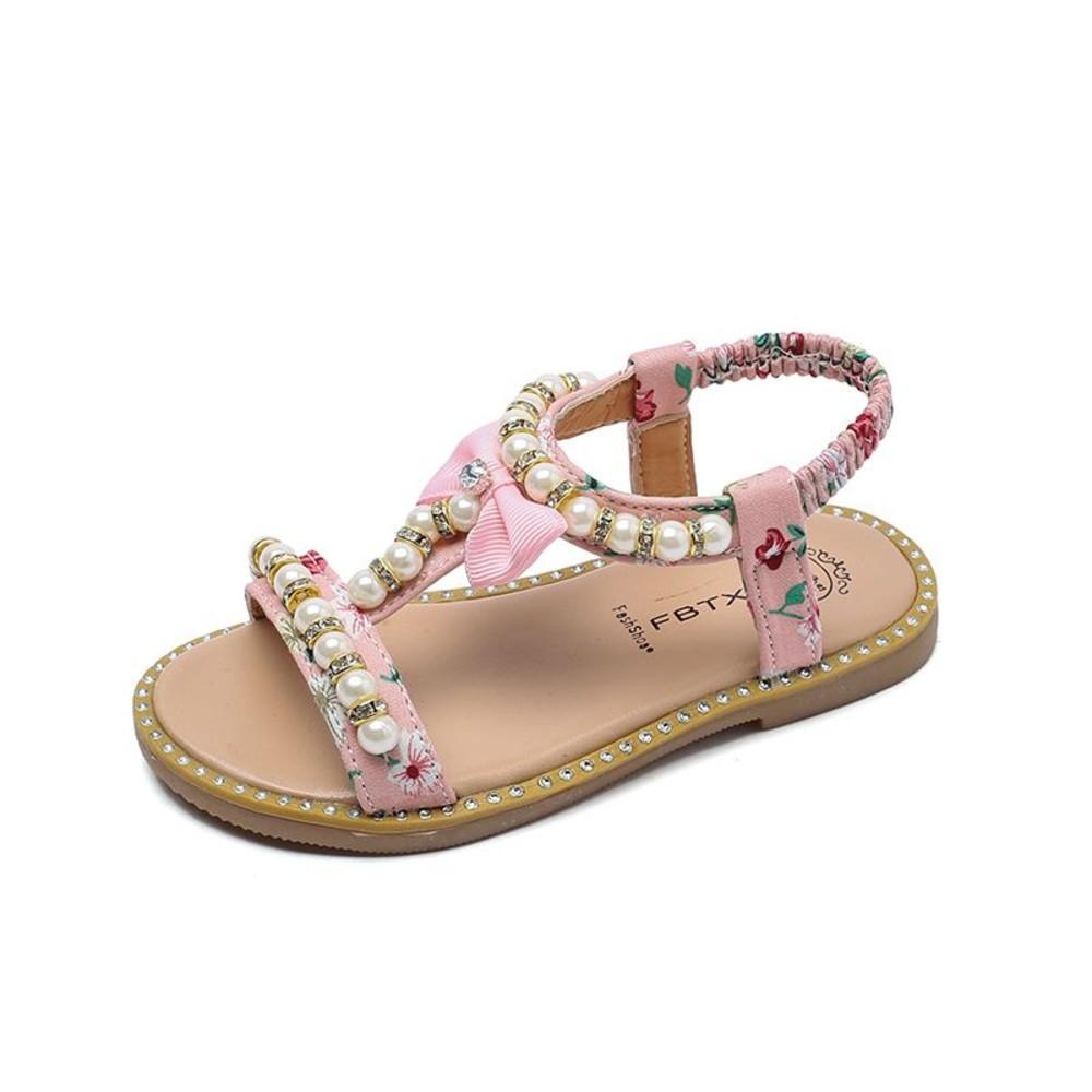 清純小碎花珍珠露指涼鞋