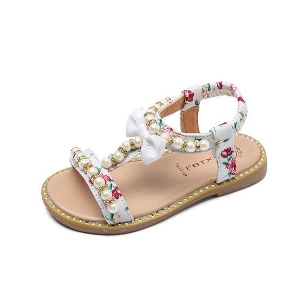 S716 - 清純小碎花珍珠露指涼鞋